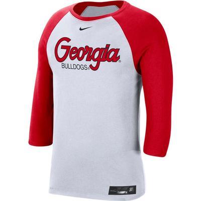Georgia Nike Men's Dri-fit Cotton Raglan Baseball Tee