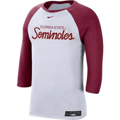 FSU Nike Men's Dr-fit Cotton Raglan Baseball Tee