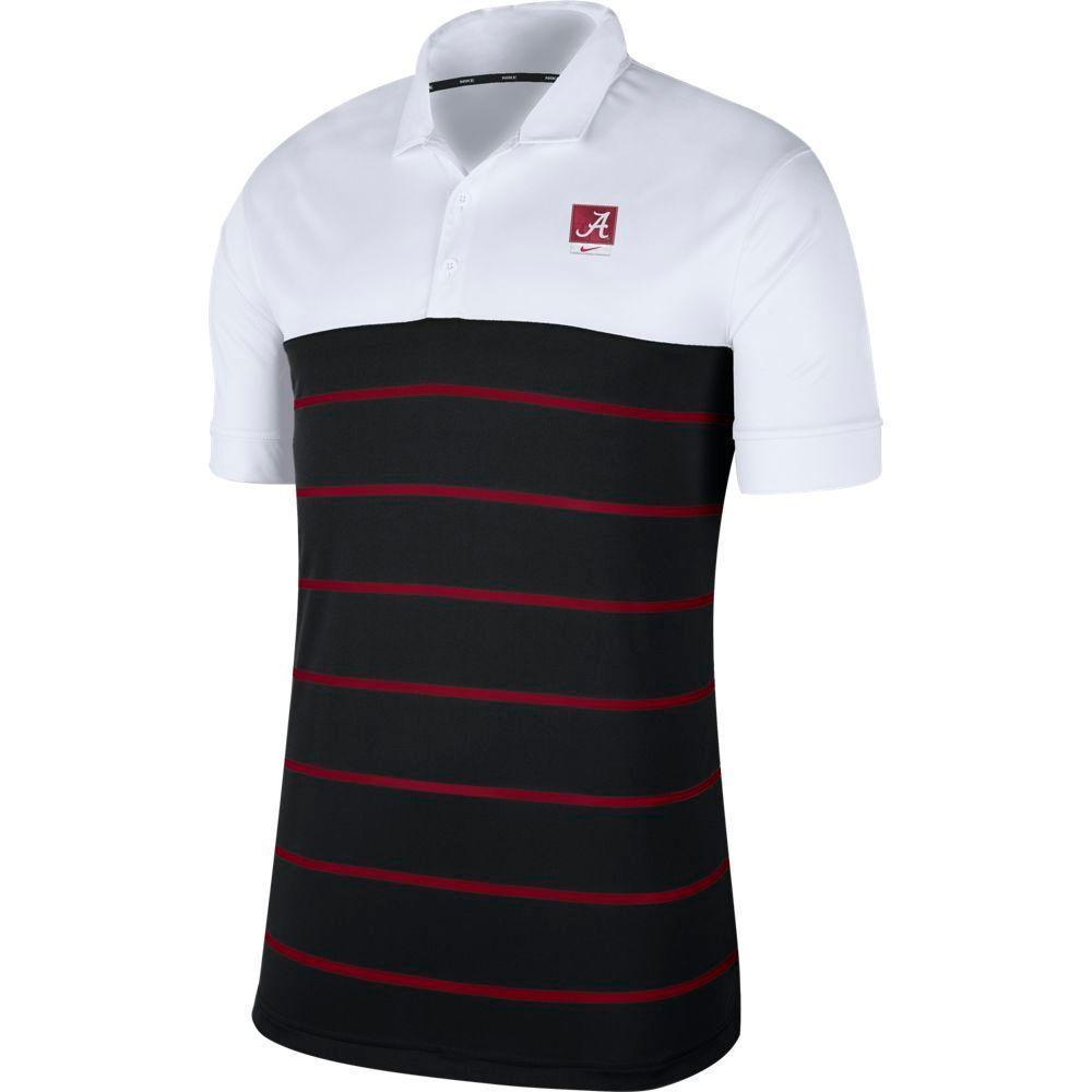 Alabama Nike Label Striped Polo