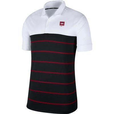 Arkansas Nike Label Striped Polo
