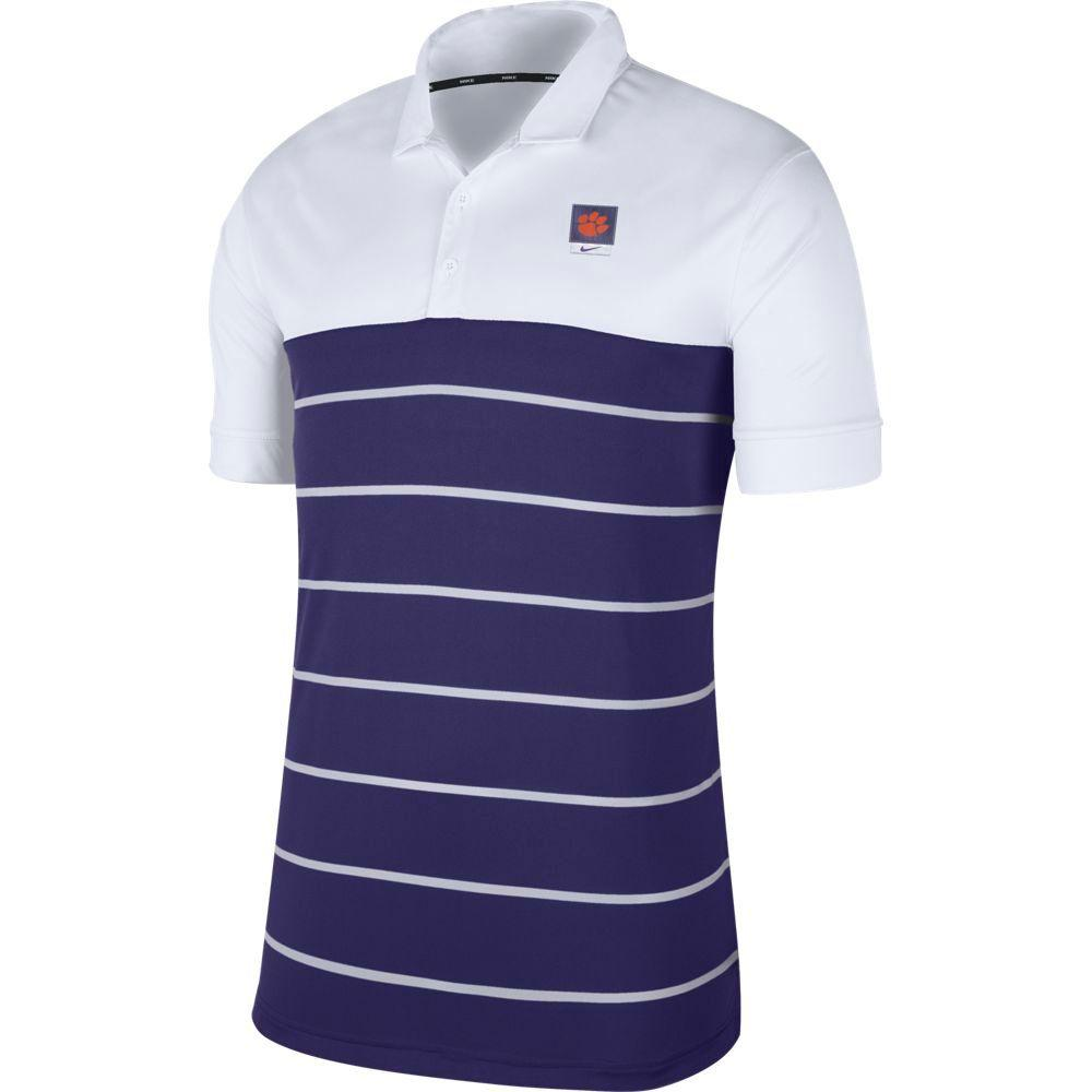 Clemson Nike Label Striped Polo