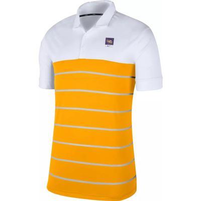 LSU Nike Label Striped Polo