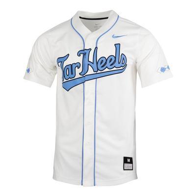 UNC Nike White Tar Heel Script Baseball Jersey