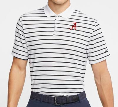 Alabama Nike Golf Dry Victory Stripe Polo WHITE