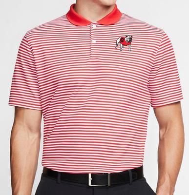 Georgia Nike Golf Dry Victory Stripe Polo RED