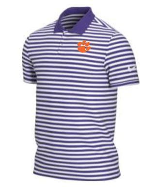 Clemson Nike Golf Dry Victory Stripe Polo PURPLE