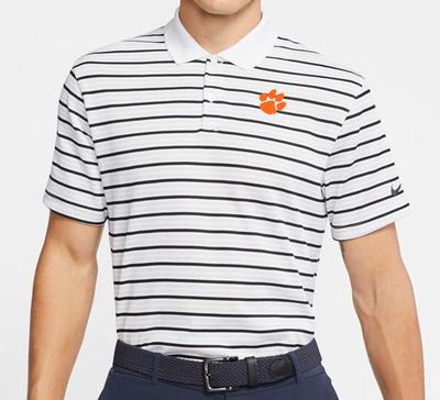 Clemson Nike Golf Dry Victory Stripe Polo WHITE