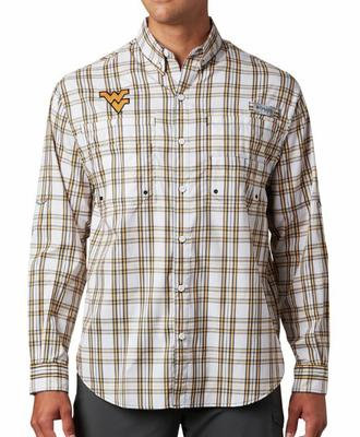 West Virginia Columbia Super Tamiami Long Sleeve Shirt