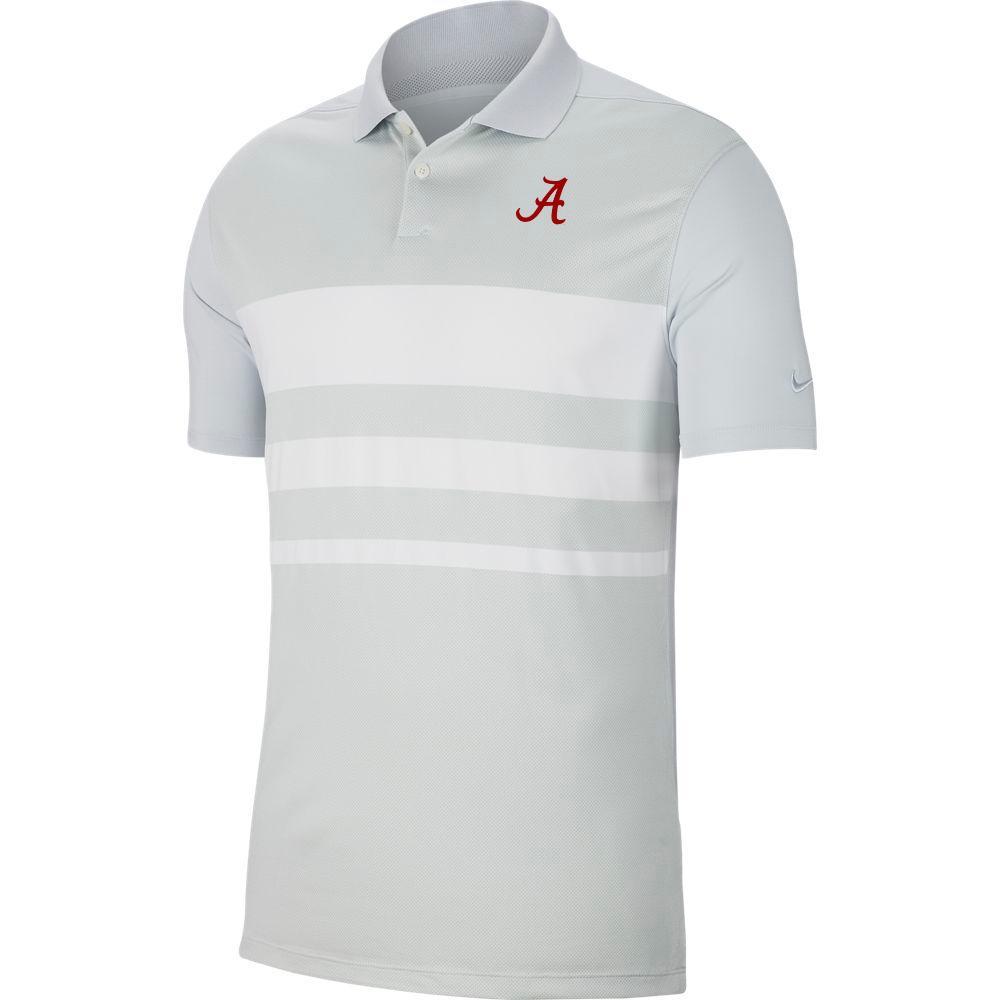 Alabama Nike Golf Dry Vapor Stripe Polo