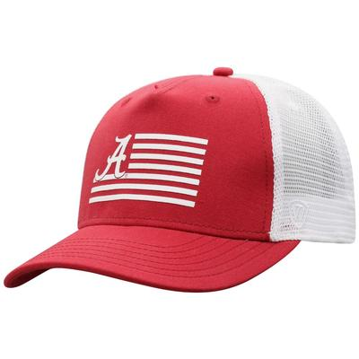 Alabama Men's Here Silicone Striped Trucker Hat