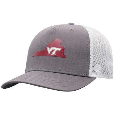 Virginia Tech Men's There Silicone State Trucker Hat