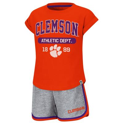 Clemson Colosseum Toddler Girl Charge It Short Set