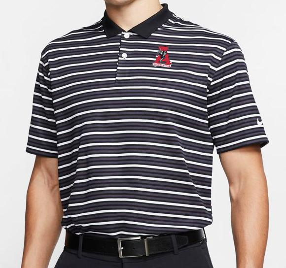Alabama Nike Golf Retro Logo Dry Victory Stripe Polo