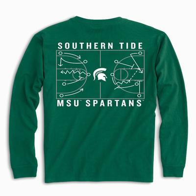 Michigan State Southern Tide Basketball Court Long Sleeve Tee