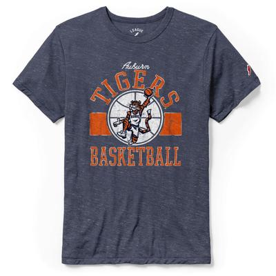 Auburn League Basketball Original Aubie Tri-blend Short Sleeve Navy Tee
