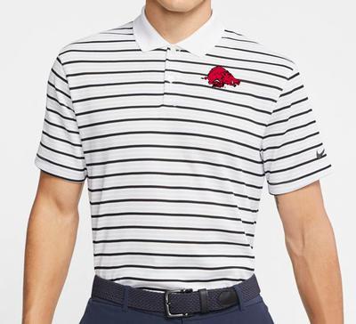 Arkansas Nike Golf Retro Running Hog Dry Victory Stripe Polo WHITE