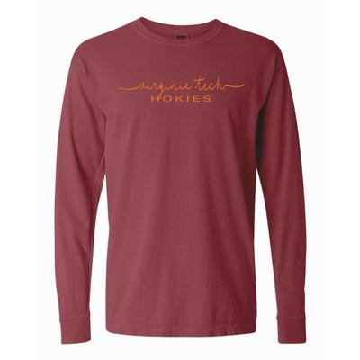 Virginia Tech Summit Women's FC Script Over Mascot Long Sleeve Tee