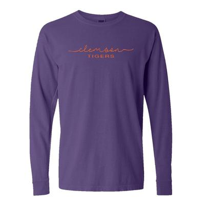 Clemson Summit Women's FC Script Over Mascot Long Sleeve Tee