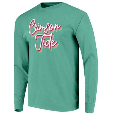 Alabama Women's Rainbow Girly Script Long Sleeve Tee