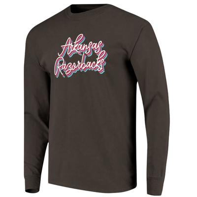 Arkansas Women's Rainbow Girly Script Long Sleeve Tee