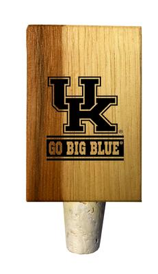 Kentucky Go Big Blue Timeless Etchings Hickory Bottle Stopper
