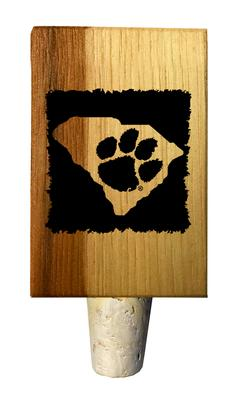 Clemson Paw State Timeless Etchings Hickory Bottle Stopper