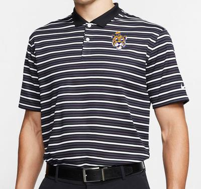 LSU Nike Golf Retro Logo Dry Victory Stripe Polo