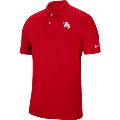 Georgia Nike Golf Retro Dawg Logo Dry Victory Solid Polo RED