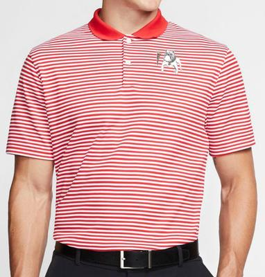 Georgia Nike Golf Retro Bulldog Dry Victory Stripe Polo RED