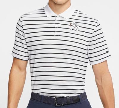 Georgia Nike Golf Retro Bulldog Dry Victory Stripe Polo WHITE