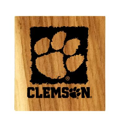 Clemson Timeless Etchings Hickory Coaster Set