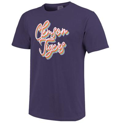 Clemson Women's Rainbow Girly Script Short Sleeve Tee