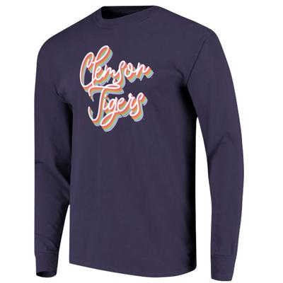 Clemson Women's Rainbow Girly Script Long Sleeve Tee