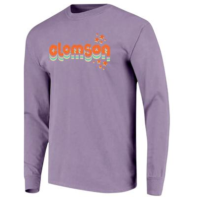 Clemson Women's Retro Cutout Stars Long Sleeve Tee