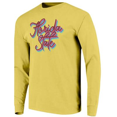 FSU Women's Rainbow Girly Script Long Sleeve Tee