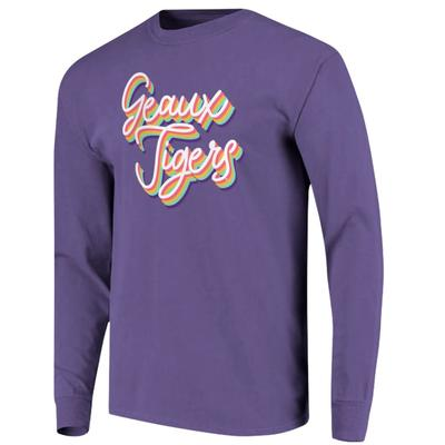 LSU Women's Rainbow Girly Script Long Sleeve Tee