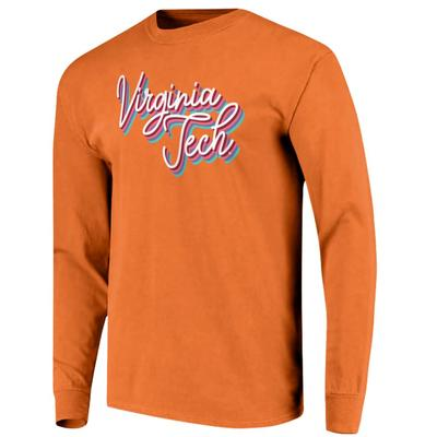 Virginia Tech Women's Rainbow Girly Script Long Sleeve Tee