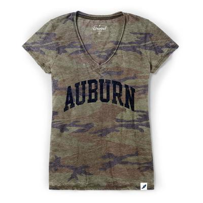 Auburn League Burnout Camo V- Neck