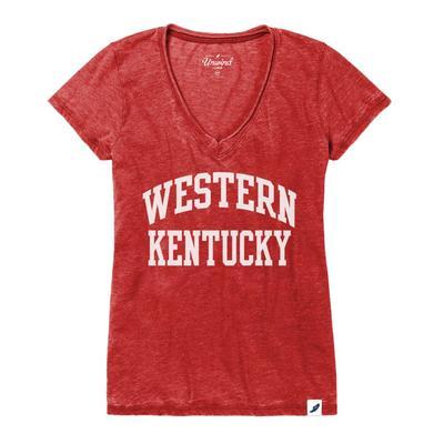 Western Kentucky League Distressed Burnout V-Neck