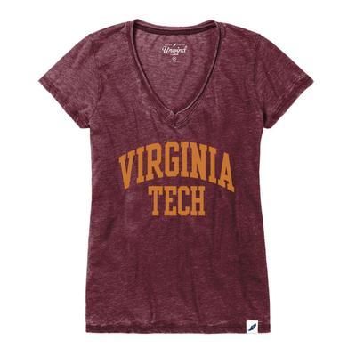 Virginia Tech League Distressed Burnout V-Neck