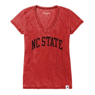 NC State League Distressed Burnout V-Neck