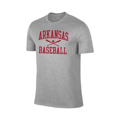 Arkansas Basic Baseball Tee Shirt GREY