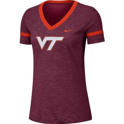 Virginia Tech Nike Women's Slub V-Neck Tee