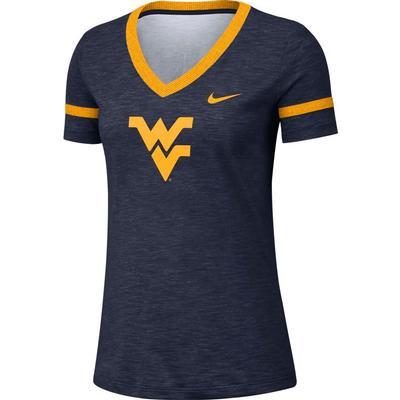 West Virginia Nike Women's Slub V-Neck Tee
