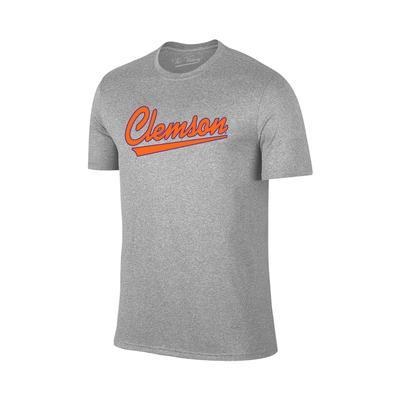 Clemson Script Short Sleeve Tee Shirt GREY