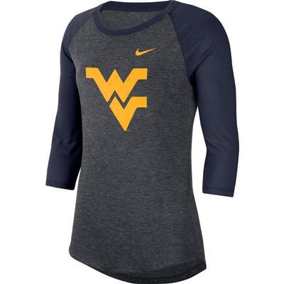 West Virginia Nike Dri-Blend 3/4 Sleeve Raglan Tee