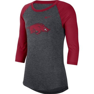 Arkansas Nike Dri-Blend 3/4 Sleeve Raglan Tee