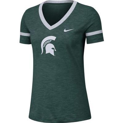 Michigan State Nike Women's Slub V-Neck Tee