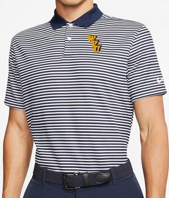 West Virginia Nike Golf Interlock Dry Victory Stripe Polo