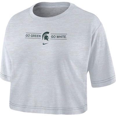 Michigan State Nike Women's Slub Crop Tee WHITE